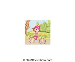 schattig, meisje, fiets, vrolijke , paardrijden