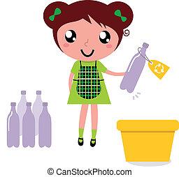 schattig, meisje, hergebruiken, restafval, in, recyclerende...