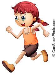 schattig, meisje, rennende