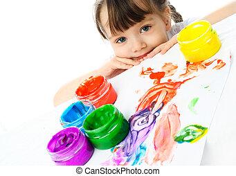 schattig, meisje, schilderij, vinger, verven
