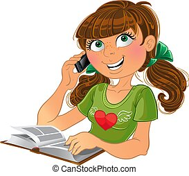 schattig, meisje, spreken, op telefoon