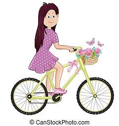 schattig, meisje, vrolijke , bike., paardrijden