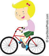 schattig, meisje, vrolijke , fiets te rijden