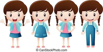 schattig, meisje, vrolijke , glimlachen