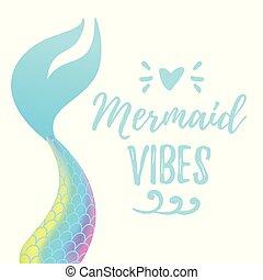 schattig, mermaid, staart