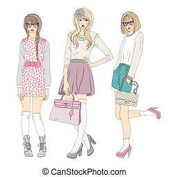schattig, mode, meiden, tiener