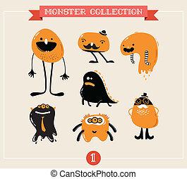 schattig, monsters, set, van, vector, illustraties
