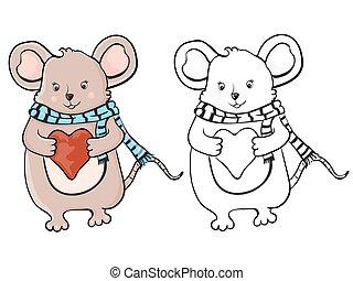 schattig, muis, heart.