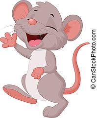 schattig, muis, het poseren, spotprent