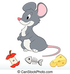 schattig, muis, spotprent