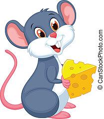 schattig, muis, spotprent, vasthouden, een, stuk