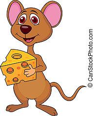 schattig, muis, spotprent, vasthouden, kaas