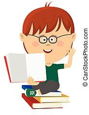 schattig, nerd, jongetje, optredens, open, schoolboek, zittende , op, stapel boeken