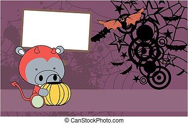 schattig, nijlpaard, halloween kostuum, achtergrond, baby, spotprent