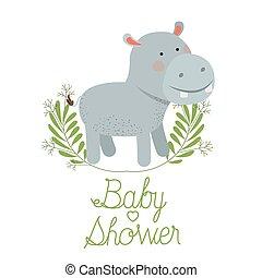schattig, nijlpaard, krans, douche, baby, kaart