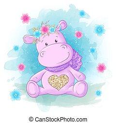 schattig, nijlpaard, postkaart, spotprent, vlinder, bloemen, style.