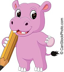 schattig, nijlpaard, spotprent, vasthouden, potlood