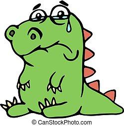 schattig, ongelukkig, dinosaurus