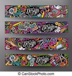 schattig, ontwerper, kleurrijke, hand, vector, ontwerp, getrokken, doodles, banieren, spotprent