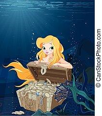schattig, op, schatkist, mermaid