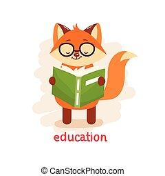 schattig, opleiding, concept., vos, book., lezende glazen