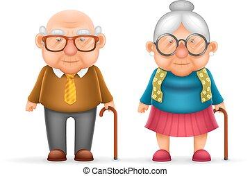 schattig, oud, gezin, karakter, vrijstaand, illustratie, grootvader, realistisch, vector, ontwerp, man, oma, vrolijke , dame, spotprent, 3d