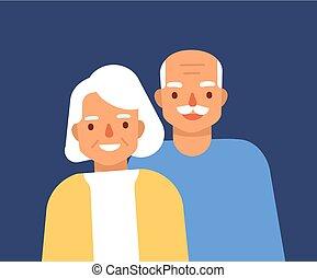 schattig, oud, granddad, bejaarden, samen., verticaal, het glimlachen, style., staand, grandparents., grootmoeder, vrolijke , plat, kleurrijke, paar., illustratie, grandma., spotprent, man, grootvader, vector, vrouw