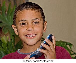 schattig, oud, jongen, mobiele telefoon, bi-racial, jaar, negen
