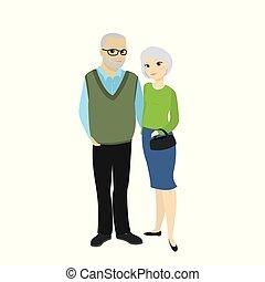 schattig, oude dame, grootvader, oma, man, vrolijke