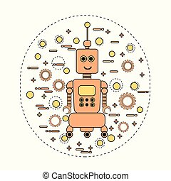 schattig, ouderwetse , karakter, robot, robotachtig, spotprent, pictogram