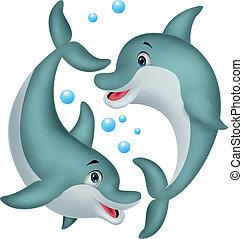 schattig, paar, dolfijn, spotprent