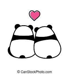 schattig, paar, liefde, panda