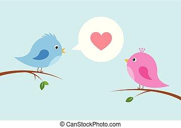 schattig, paar, liefdevogels