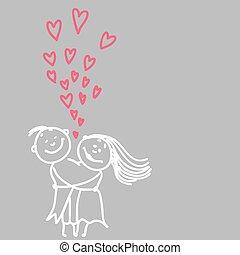 schattig, paar, romantische