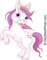 schattig, paarde, op, rearing, prinsesje