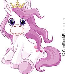schattig, paarde, prinsesje