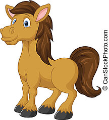 schattig, paarde, spotprent