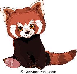 schattig, panda, rood