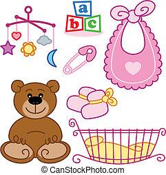 schattig, pasgeboren, baby meisje, speelgoed, grafisch,...
