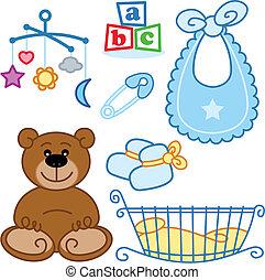 schattig, pasgeboren, babyspeelgoed, grafisch, elements.