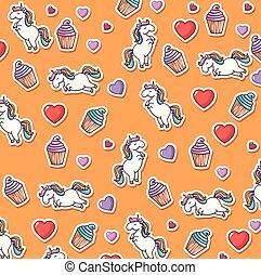 schattig, pattern., eenhoorn