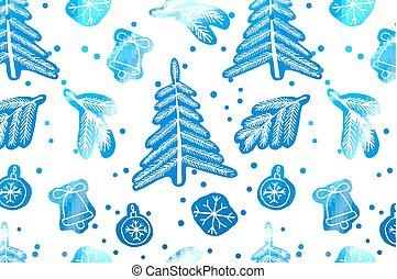schattig, pattern., kerstmis, seamless