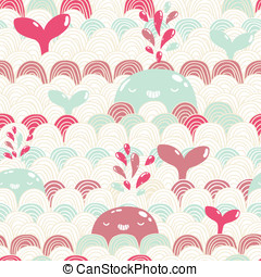 schattig, pattern., seamless, golven, walvis, spotprent