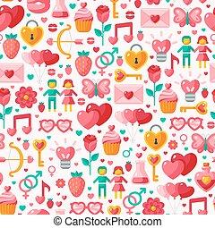 schattig, pattern., seamless, valentijn