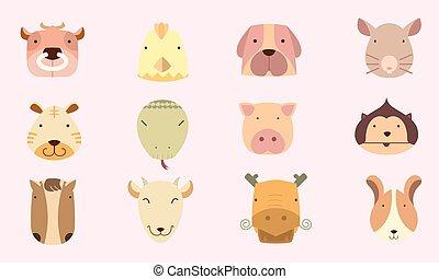 schattig, pictogram, chinese astrologie