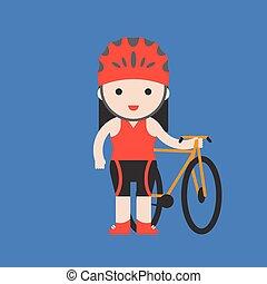 schattig, plat, karakter, fiets, fietser, ontwerp