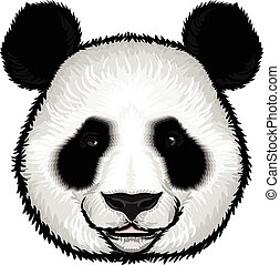 schattig, pluizig, panda, gezicht