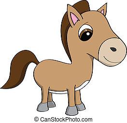 schattig, pony, spotprent, illustratie