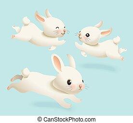 schattig, poster., konijn, lente, blauwe , weinig; niet zo(veel), set., karakter, vrijstaand, afdrukken, witte , vakantie, konijntje, vrolijke , plat, pose, stijl, illustratie, verzameling, achtergrond, spotprent, mascotte, vector, reclame