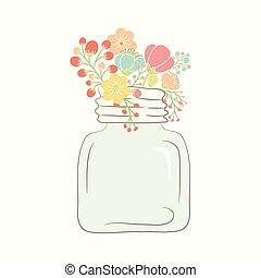 schattig, pot., bouquetten, illustratie, glas, vector, trouwfeest, bloemen